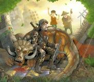 被击败妖怪的猎人和龙 免版税库存图片