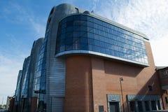 被更新的大厦在市罗兹-波兰 库存照片