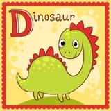 被说明的字母表信件D和恐龙 免版税库存照片