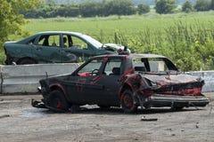 被击毁的汽车出于爆破德比 免版税库存照片