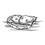 被绘的三明治用在白色背景和香肠隔绝的乳酪 库存照片