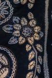 被绘的丝绸蜡染布的抽象黑等高和盐溶样式 免版税库存图片