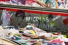被绘的五颜六色的乱画 免版税库存照片