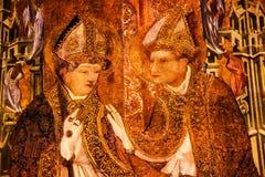 被绘的唱诗班摊位主教哥特式宽容巴塞罗那大教堂 库存照片