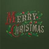被绣的圣诞快乐卡片 皇族释放例证