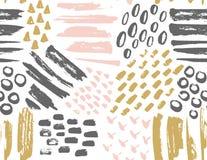 被绘的墨水纹理的传染媒介无缝的样式 向量例证