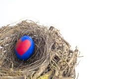 被绘的复活节彩蛋细节与在巢安置的红色心脏的我 库存照片