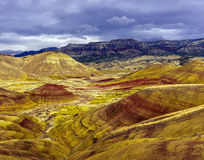 被绘的小山单位-约翰迪化石床国家历史文物 免版税图库摄影