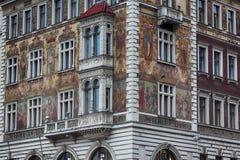 被绘的房子在布拉格 图库摄影