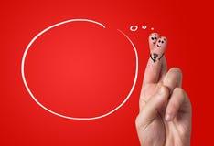 被绘的手指面带笑容,情人节 免版税库存照片