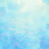 被绘的抽象水彩水,海,云彩和 库存照片