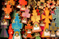 被绘的木十字架 图库摄影