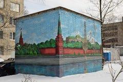 被绘的砖克里姆林宫墙壁变压器穹顶 库存图片