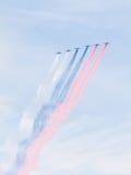 被绘的苏-25俄国旗子 免版税库存照片