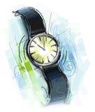 被绘的蓝色时钟 图库摄影