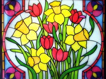 被绘的郁金香和水仙花 免版税库存图片