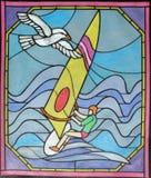 被绘的风帆冲浪者 免版税库存照片