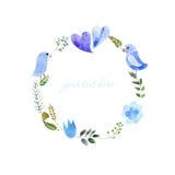 被绘的水彩花圈  库存例证