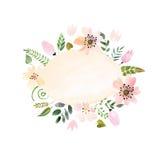 被绘的水彩花圈  向量例证