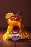 被仔细考虑的酒用桔子、丁香、茴香和柠檬在褐色 库存图片