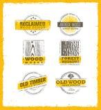 被索还的木设计元素 创造性的套土气标签和邮票Custom的Interior Workshop Company 库存照片