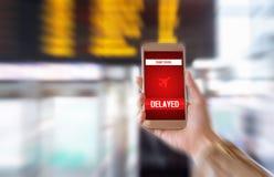 被延迟的飞行 在飞行日程表的延迟 免版税库存照片