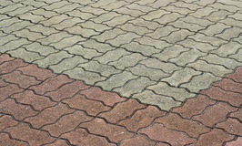 被仿造的砖走道水泥 库存图片