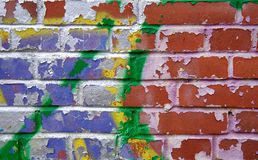 被暴露的多彩多姿的砖纹理 图库摄影