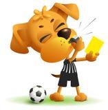 裁判员狗展示黄牌 侵害条例,当踢足球时 图库摄影