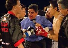 裁判爱好者和职业拳击 免版税库存图片