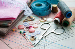 裁缝的辅助部件 向量例证