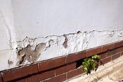 崩裂和剥油漆由于上升的潮湿 免版税库存照片