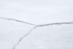 破裂的冰裂痕 免版税库存照片