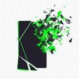 破裂的电话屏幕打碎入片断 残破的智能手机由在透明背景的爆炸分裂了 显示 免版税库存图片