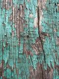 破裂的蓝色油漆纹理在木头的 免版税库存照片