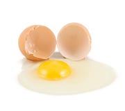 破裂的蛋壳用卵黄质和蛋白质 免版税库存照片