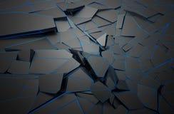 破裂的表面抽象3D翻译  库存图片