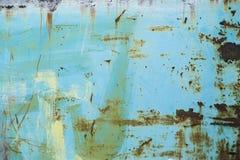 破裂的被绘的老金属纹理,绿松石颜色 免版税库存图片