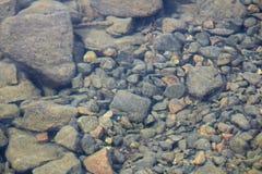 裂缝被变形的看法在水中包括岩石 免版税图库摄影