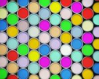装五颜六色的油漆于罐中 免版税库存图片