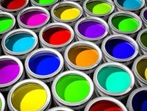 装五颜六色的油漆于罐中 图库摄影