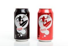 装可口可乐编辑被限制的夏天于罐中 库存图片