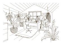 装备在现代斯堪的纳维亚hygge样式和装饰的舒适内阁、有双重斜坡屋顶的房屋或者顶楼室单色图画  皇族释放例证
