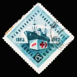 装备有红十字,国际组织红十字会,大约1963年 免版税库存照片