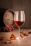 装瓶充分的玻璃葡萄树寿命红色不起泡的酒 免版税库存照片