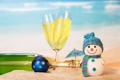 装瓶和两块玻璃用香槟,雪人,圣诞节球, 库存图片