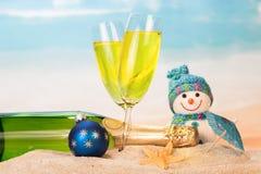 装瓶和两块玻璃用香槟,雪人,圣诞节球, 免版税库存照片