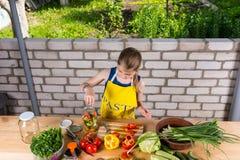 装瓶新鲜蔬菜的女孩 免版税库存图片