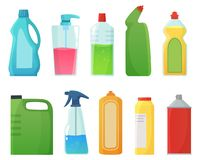 装瓶洗涤剂 清洁物品产品、漂白瓶和塑料洗涤剂容器动画片传染媒介 库存例证
