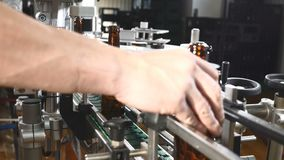 装瓶的技术线啤酒在啤酒厂 在工厂倒空在一条线的棕色瓶 继续前进传动机的瓶 股票视频